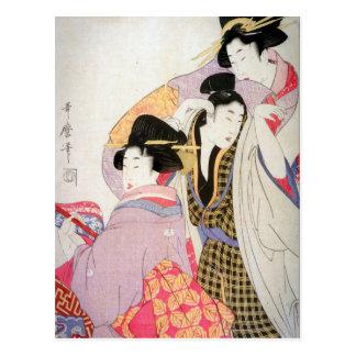 Utamaro Geishas med lätt berusad beställare Vykort