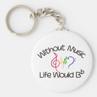 Utan musik rund nyckelring