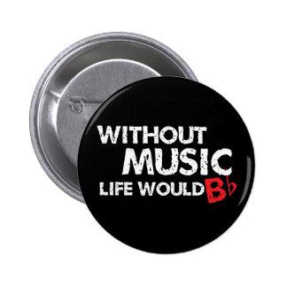 Utan musikliv skulle lägenhet för B (var) Standard Knapp Rund 5.7 Cm