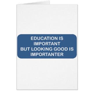 Utbildning är den viktiga tittar bran är important hälsningskort