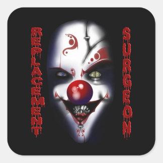 Utbyteskirurg - ond clown fyrkantigt klistermärke