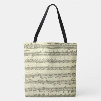 Utdrag för Bach Partita original- musikmanuskript Tygkasse