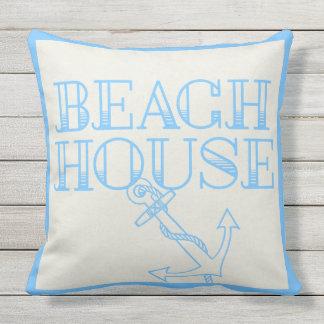 Uteplatsen kudder strandhuset ankrar lätt - blått utomhuskudde