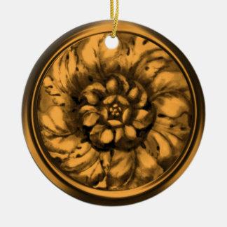Utföra i relief LookRosette för vintage barock Rund Julgransprydnad I Keramik
