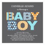 Utklipp märker baby showerinbjudan - pojke individuella inbjudningskort