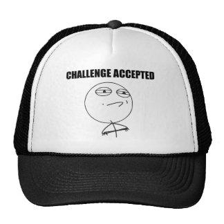 Utmaning accepterad ursinneansiktetecknad Meme Keps