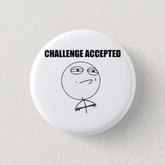 Utmaning accepterad ursinneansiktetecknad Meme Mini Knapp Rund 3.2 Cm