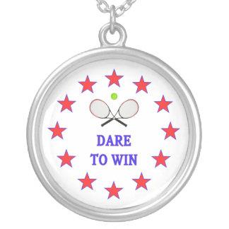 Utmaning att segra tennis silverpläterat halsband
