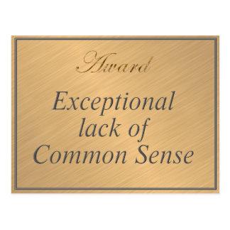 Utmärkelse för ovanlig brist av sunt förnuft vykort