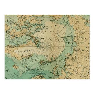Utmärkt vintagekarta av det arktiska hav vykort