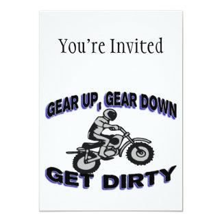 Utrusta får upp smutsar ner Motocross 12,7 X 17,8 Cm Inbjudningskort