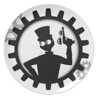 Utrustar det hållande vapnet för den Steampunk Tallrik