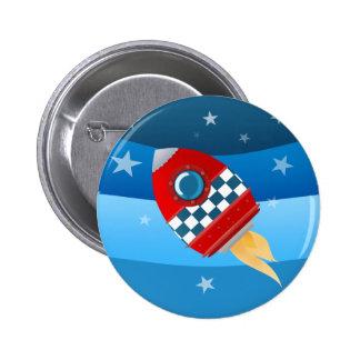 Utrymmeraket - knäppas emblem standard knapp rund 5.7 cm