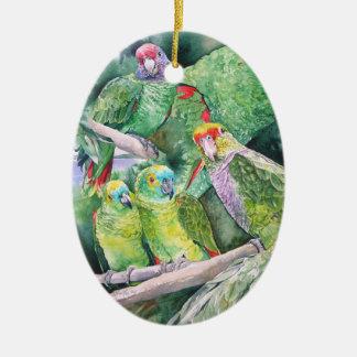Utsatte för fara papegojor av Brasilien atlantiska Julgransprydnad Keramik