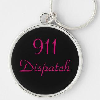 Utskick 911 centrerar rund silverfärgad nyckelring