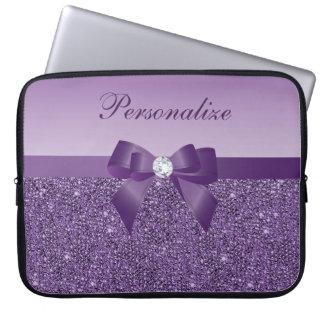 Utskrivaven purpurfärgad Sequins, pilbåge & Laptop Sleeve
