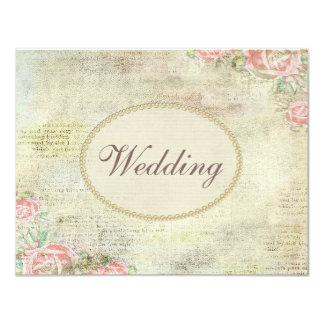 Utskrivavet gifta sig för pärlor & för snöreshabby 10,8 x 14 cm inbjudningskort