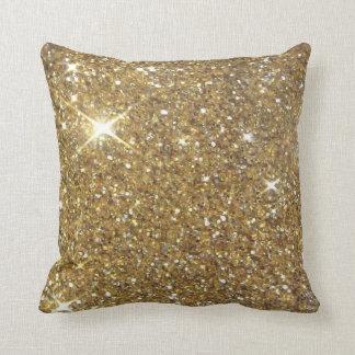 Utskrivavet lyxigt guld- glitter - avbilda kudde