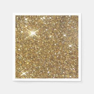 Utskrivavet lyxigt guld- glitter - avbilda pappersservett