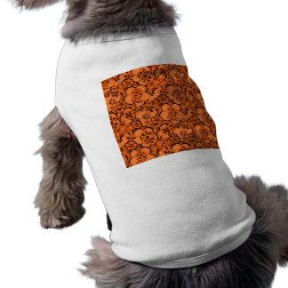 Utslagsplats för hund för Retro abstrakt blommaTan Hund T-shirt