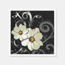Utsmyckad blom- svart för krusidull | servetter