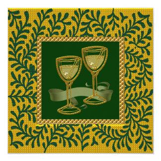 Utsmyckad bröllopsdagpartyinbjudan fyrkantigt 13,3 cm inbjudningskort