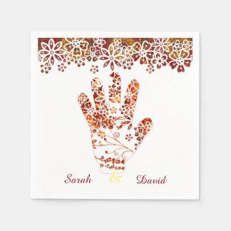Utsmyckad dekorerad Mehndi Henna räcker design Servetter