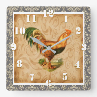 Utsmyckad elegant damastast utsmyckad lantlig fyrkantig klocka