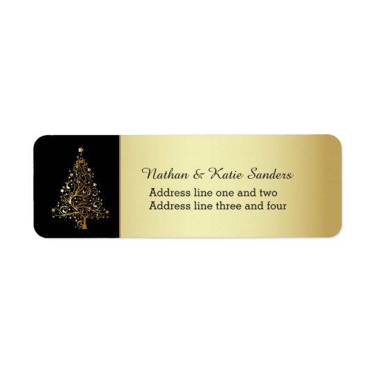Utsmyckad guld- julgran returadress etikett