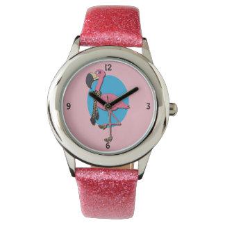 Utsmyckad klocka för Flamingorosaglitter