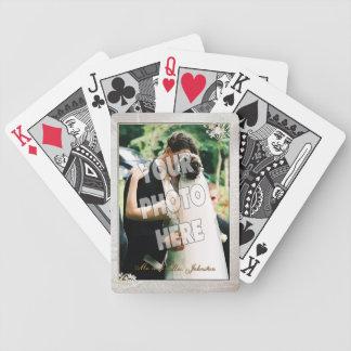Utsmyckad mall för ram för Brocadebröllopfoto Spelkort