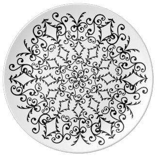 utsmyckad Mandala Porslinstallrik