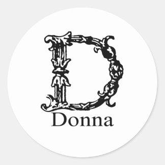 Utsmyckad Monogram: Donna Runt Klistermärke