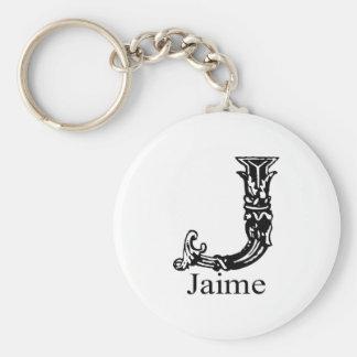 Utsmyckad Monogram: Jaime Rund Nyckelring