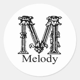 Utsmyckad Monogram: Melodi Runt Klistermärke