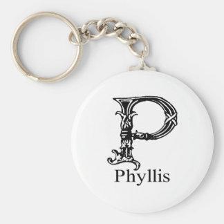 Utsmyckad Monogram: Phyllis Rund Nyckelring