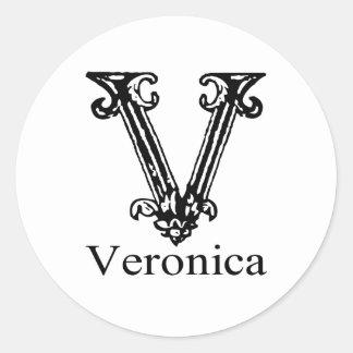 Utsmyckad Monogram: Veronica Runt Klistermärke