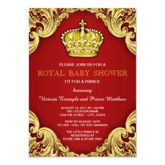Utsmyckad Prince guld- baby shower som är röd och 11,4 X 15,9 Cm Inbjudningskort