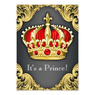 Utsmyckad Regal rött för Prince baby shower 11,4 X 15,9 Cm Inbjudningskort