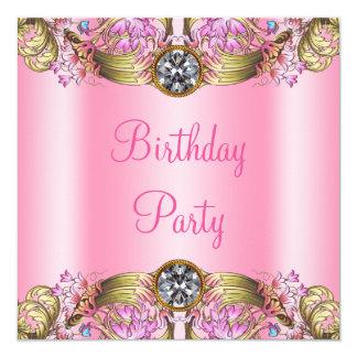 Utsmyckad rosa guld- födelsedagsfest fyrkantigt 13,3 cm inbjudningskort