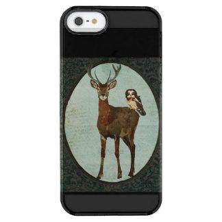 Utsmyckad svart iphone case för älg & för uggla clear iPhone SE/5/5s skal