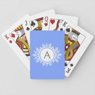 Utsmyckad vitSnowflakeMonogram på ljusa blått Casinokort
