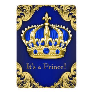 Utsmyckade blått för Prince baby shower 11,4 X 15,9 Cm Inbjudningskort