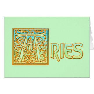 Utsmyckade blått och guld- vädur hälsningskort