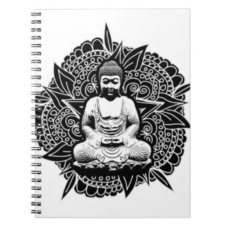 Utsmyckade Buddha Anteckningsbok Med Spiral