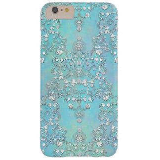Utsmyckade krickablått och Lacy damastast blommigt Barely There iPhone 6 Plus Fodral