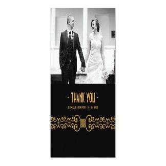 Utsmyckat guld- bälte - svart brölloptack 3 för 10,2 x 23,5 cm inbjudningskort