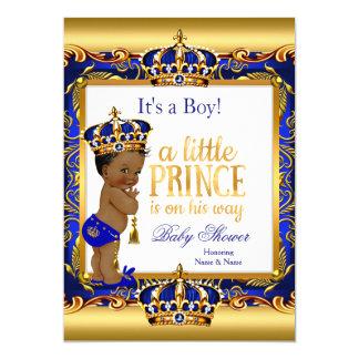 Utsmyckat guld för etniska blått för Prince baby 12,7 X 17,8 Cm Inbjudningskort