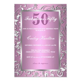 Utsmyckat mönster rosa sagolika femtio för 12,7 x 17,8 cm inbjudningskort