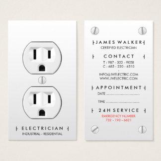 Uttag för modern enkel vit för elektriker visitkort